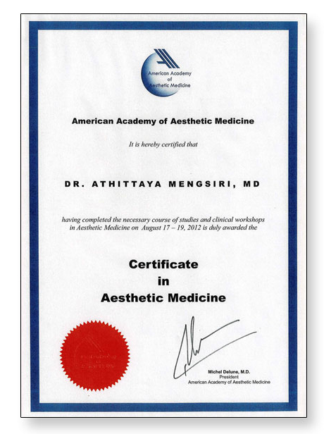 DR. Noon USA Certificate